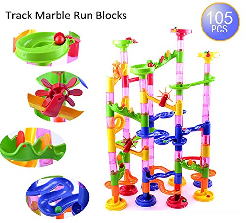 Marble Run Coaster 105 Piece Set with 75 Building Blocks+30 Glass Race Marbles, CEStore Learning Railway Construction DIY Constructing Maze Toy Game for All Family [Non-toxic tasteless & Durable]