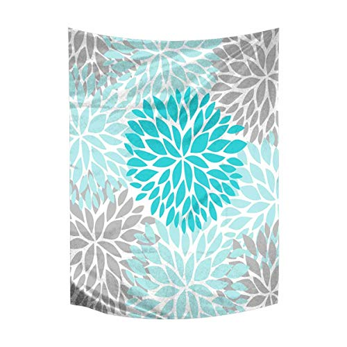 - InterestPrint Dahlia Pinnata Flower Turquoise Blue and Gray Tapestry Wall Hanging Art Cotton Linen Tapestries for Living Room Bedroom Dorm Decor, 40