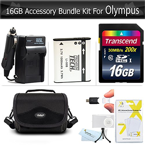 16GB Accessories Bundle kit For Olympus XZ-1 SZ-10 SZ-20 SZ-30MR, SZ-11, TG-860, TG-870 Camera Includes 16GB High Speed SD Memory Card + Replacement LI-50B Battery + Ac/Dc Charger + Case (Olympus 16 Gb Kit)