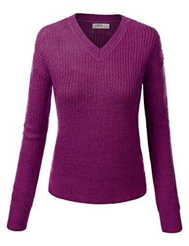 J.TOMSON Womens Thick Slim Fit Knit Sweater MAGENTA PURPLE SMALL