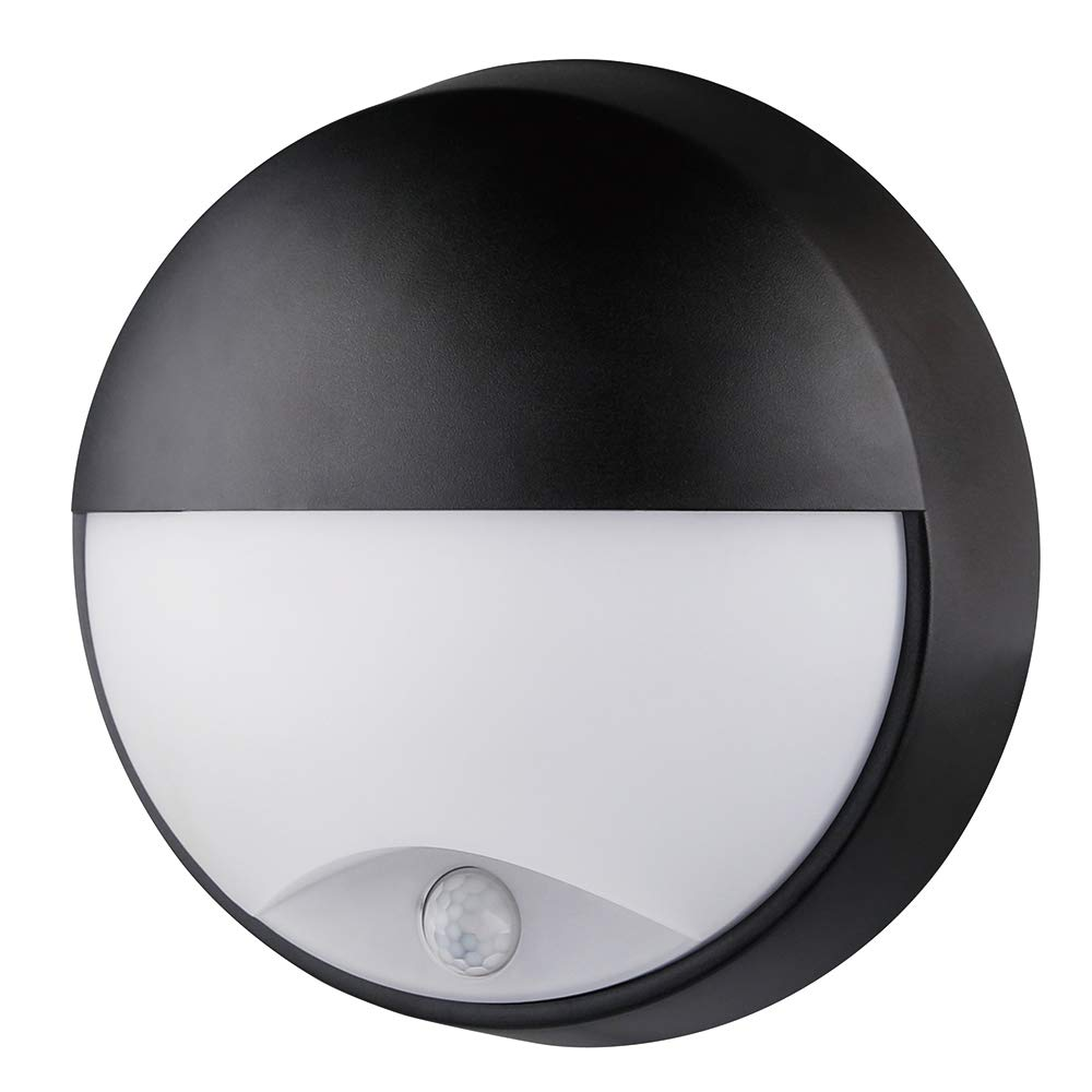 10W LED 4000K IP54 Eyelid Flush Wall ceiling Mounted Round circular Bulkhead Light Fitting with Motion Sensor PIR for Indoor,Outdoor,Bathroom,Bath,Office,Kitchen,Hallway,Corridor,Utility,Garden,Garage,Shed,Workshop, black(Warmwhite 4000k 21.5 x 21.5 x 8cm