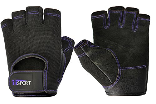 Womens Mens Weight Lifting Gloves for CrossFit, Powerlifting, Bench Press, Bodybuilding - Reinforced Leather Padded Weightlifting Gloves, Non-Slip Grip & Callus Protector - Purple L