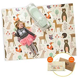 """Infant Shining Baby Play Mat, 58""""x78"""",0-6 Years Old Baby,Foldable Mat, Waterproof and Antislip Mat (58in*78in, Happy Zoo)"""