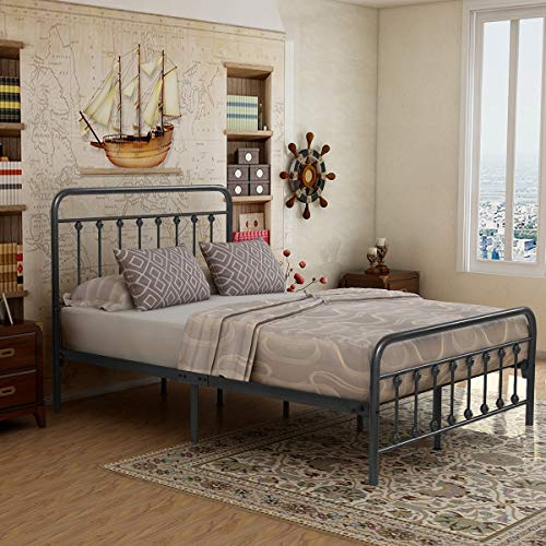 (Elegant Home Products Victorian Vintage Style Platform Metal Bed Frame Foundation Headboard Footboard Heavy Duty Steel Slabs Queen Full Twin Gray/Sliver Finish (Full))