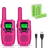 Walkie Talkies for Kids, FAYOGOO 22 Channel Walkie Talkies Two Way Radio 4 Miles (Up to 5 Miles) Long Range with Rechargeable Batteries and USB Cable, Toys for 3 Year Old Up Boys and Girls (Cute Pink)