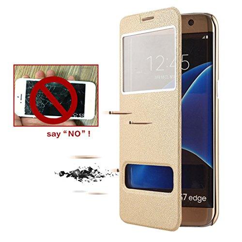 pelle per Pu chiusa Case Magnetica Gold Galaxy S6 Portafoglio con Galaxy Flip S6 Samsung Bookstyle Cover in Protettiva Stand Custodia Pelle JEPER wFUAn4Tq