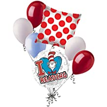 7 pc Dr. Seuss Cat in Hat Love to Read Balloon Bouquet Party Decoration Birthday