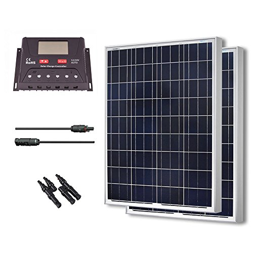 Renogy 200 Watt 12 Volt Polycrystalline Solar Bundle Kit with 30A PWM Controller - LCD Display