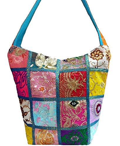 Embroidered Sequin Patchwork Indian Sari Throw Decorative Sling Cross body Shoulder Bag, Boho Hobo Vintage Bag,Traditional Looks (Sky Blue) by Anya
