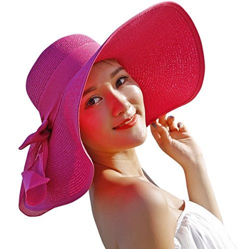 Lanzom Womens Big Bowknot Straw Hat Floppy Foldable Roll up Beach Cap Sun Hat UPF 50+ (Rose)