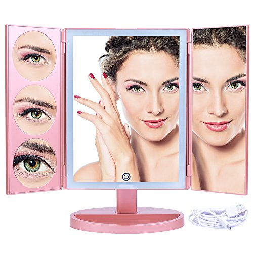 Mirrorvana XLarge Vanity Mirror Lights | Extravagant Trifold LED Lighted Makeup Mirror 3X, 5X, 10X Magnification & BONUS USB Cable (2018 XLarge Rose Gold Model) -