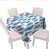 60 Inch Square Ottoman Blue Square Tablecloth Fish Sea Animal Figures with Ancient Ottoman Ornate Mosaic Hand Drawn Style Marine Artwork Square Wrinkle Resistant Tablecloth 60x60 (inch) Blue