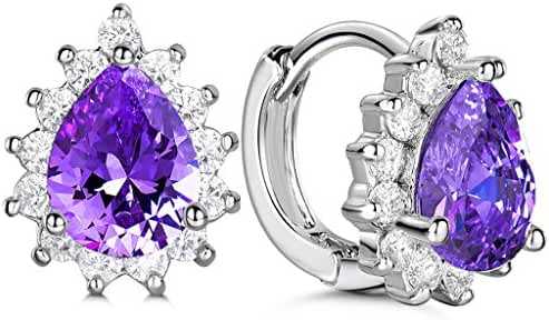 GULICX Silver Plated Base Amethyst Color Purple CZ Magnificent Hoop Leverback Earrings