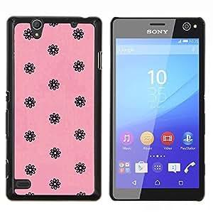 YiPhone /// Prima de resorte delgada de la cubierta del caso de Shell Armor - rosa retro vintage papel tapiz floral negro - Sony Xperia C4