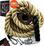 Easy-Install Manila Hemp Gym Climbing Rope w/ Bracket & Carabiner for Indoor & Outdoor Crossfit Exercise, Home Training and Fitness Workouts (1.5 in Thickness & 15/20/25 ft Length Available) (15.00)