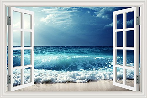 GreatHomeArt 3D Vinyl Wall Decals Beach Sea Wave Window Frame Style Wall Decor Art Removable Seascape Stickers Mural Poster for Living - Wallpapers Theme Beach For Walls