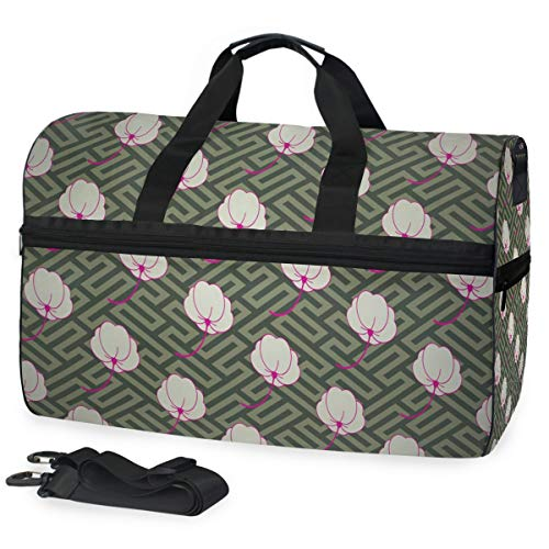 - Gym Bag Japanese Blossom Oriental Texture Duffle Bag Large Sport Travel Bags for Men Women
