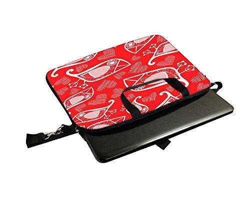 Snoogg Vögel weiß rot Muster 30,5cm 30,7cm 31,8cm Zoll Laptop Notebook Computer Schultertasche Messenger-Tasche Griff Tasche mit weichem Tragegriff abnehmbarer Schultergurt für Laptop Tablet PC Ult
