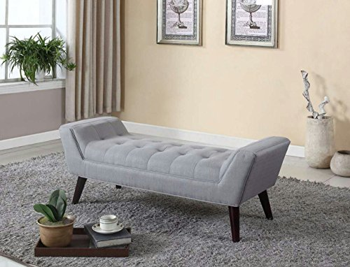 Home Life Curved Foot Bench with Tufted Accents Textured Linen Fabric and Wooden Legs, Grey