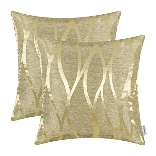 Accent Lines Gold - CaliTime Pack of 2 Throw Pillow Covers Cases for Couch Sofa Home Decor Modern Shining & Dull Contrast Abstract Water Waves Lines Geometric 18 X 18 Inches Gold