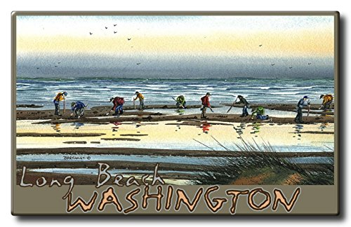 Long Beach Washington Clam Digging Aluminum HD Metal Wall Art by Artist Dave Bartholet (9 x 14.4 inch) Art Print for Bedroom, Living Room, Kitchen, Family and Dorm Room Wall - Mall Long Beach California
