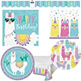 Llama Themed Happy Birthday Paper Party Supplies Serves 16: Dinner Plates + Cake Plates + Lunch Napkins + Beverage Napkins + Banner + Table Cover