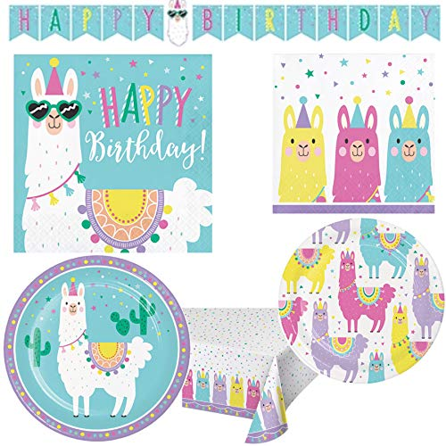Llama Themed Happy Birthday Paper Party Supplies Serves 16: Dinner Plates + Cake Plates + Lunch Napkins + Beverage Napkins + Banner + Table Cover ()