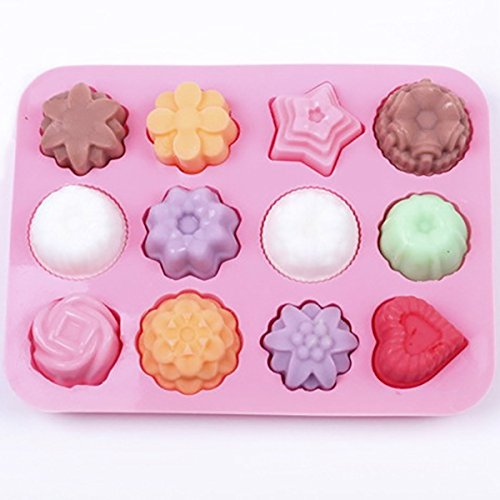 Bar Tools & Accessories - Multipurpose 12 Holes Flowers Silicone Cake Mold Ice Cream Mold Jelly Pudding Mold Chocolate Mold - 1PCs