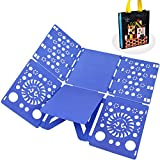 BoxLegend T shirt Clothes Folder T-shirt Folding Board Flip Fold Laundry Organizer Blue Easy and Fast for Kid and Adult to Fold Clothes Gift Bag Packaging