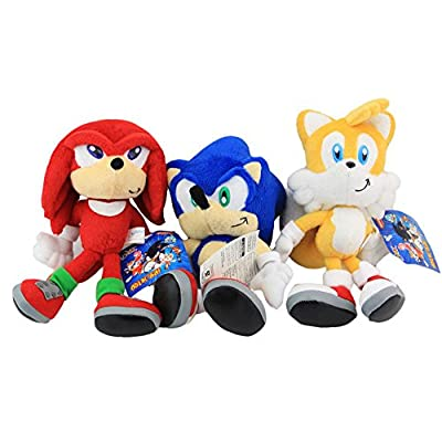 """Shalleen 3pcs Set Sonic The Hedgehog Sonic Knuckles Tails Stuffed Plush Soft Doll Toy 8"""""""