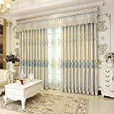 Curtains Simple European Shade Living Room Bedroom Finished Jacquard Embroidery Flower Fabric Finished Floor Screen (Size : 2 * 2.7m)