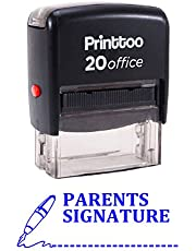 Printtoo PARENTS SIGNATURE Self Inking Rubber Stamp Office Stationary Custom Stamp-Blue