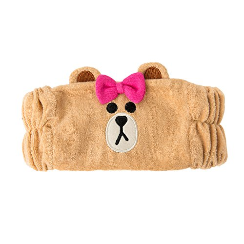LINE FRIENDS Women Headband - CHOCO Character Face Wash Plush Figure Hair Band Head Wrap, Light Brown