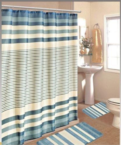 15PC BURGUNDY BROWN STRIPE BATHROOM BATH MATS SET RUG CARPET SHOWER CURTAIN (Shower Curtain Window Set)