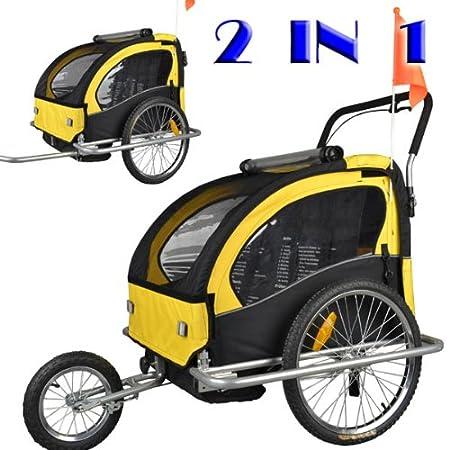 Remolque de bici para niños con kit de footing, color: amarillo/negro 502-03