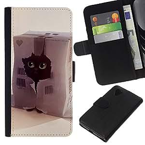 KLONGSHOP // Tirón de la caja Cartera de cuero con ranuras para tarjetas - Gato divertido lindo - LG Nexus 5 D820 D821 //