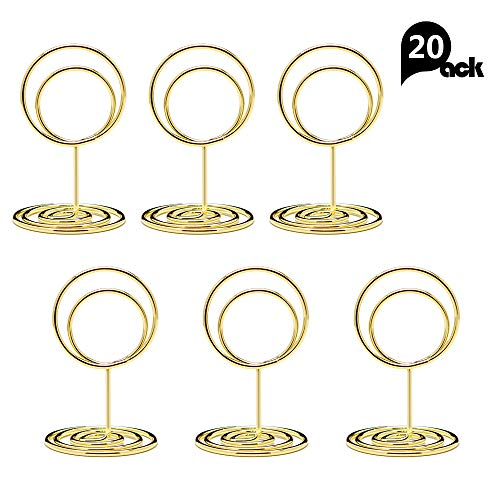 Jofefe 20pcs Mini Place Card Holders, Cute Table Number Holders, Classy Table Card Holder Table Picture Stands, Elegant Wire Photo Holder Menu Memo Clips, Idea for Wedding, Anniversary Party (Gold) (Holder Photos)