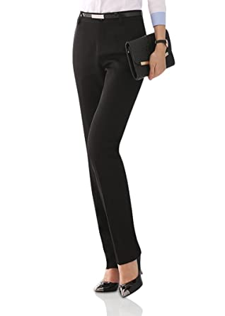 f793c32adc5 Smibra Womens Black Business Dress Pants Slim High Waisted Straight Leg  Trousers