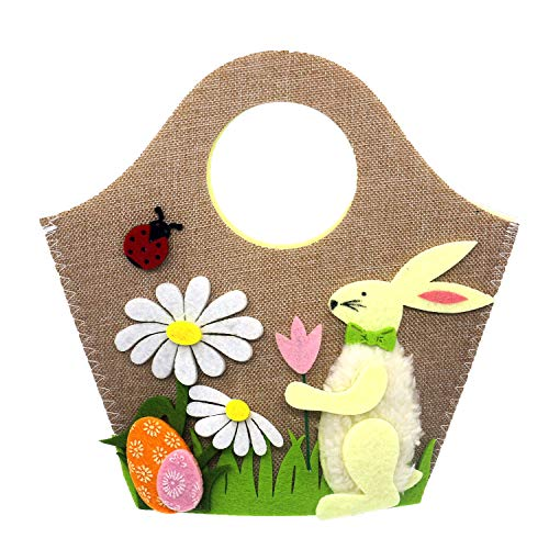 Jayoo Handmade Easter Bunny Bag, Egg Rabbit Flower Handbag for Candy Egg Toy Gift Storage, Easter Decoration Kids Party Supplies Home Decor