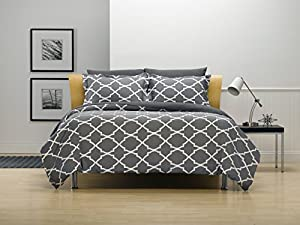 Karalai Bedding, King-Duvet-Cover, Dark Grey Lattice, 1 Duvet plus 2 Pillow Shams, Super Soft, Wrinkle Free, Machine Washable