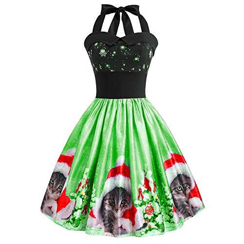 Christmas Womens Halter Sleeveless Party Dress Ladies Cats Printed Evening Prom Swing Dress