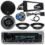 Harley Davidson Stereo Package - Kenwood CD Bluetooth Marine Receiver, 2X 6.5 Audiopipe Speakers, Dash Radio Install Kit, Speaker Adapters, Speaker Wire, Antenna (98-13 Models)