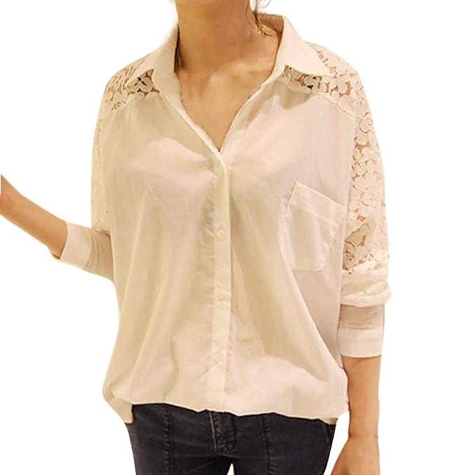 Blusa de Mujer, BaZhaHei Ropa, Camisas Casual de Tallas Grandes Casual Blusa de Manga Larga Suelta de Encaje Sólido Camisetas Mujer de Costura sin Respaldo ...