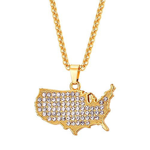 - U7 USA Map Necklace Rhinestones Iced Out Pendant Chain 18K Gold Plated I Love America National Day Jewelry