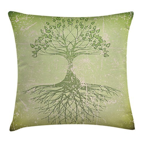 Ambesonne Tree of Life Throw Pillow Cushion Cover, Grunge Style Tree with Roots in Soil Reflection Mystic Life Wisdom Growth Aged Look, Decorative Square Accent Pillow Case, 16 X 16 Inches, Green (Soil Decorative Cover)