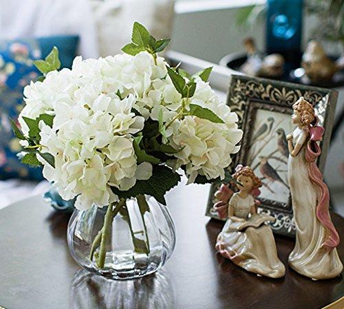 Lannu Artificial Hydrangea Flowers Silk Floral Fake Bouquet Flower for Home Wedding Wall Decor Pack 2, (Cream - Hydrangea Stem