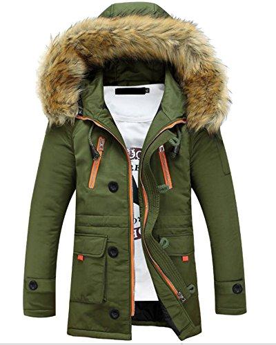 M Esterno Spessore S Militare Uomini Degli amp; Inverno Di Giù Con Cappuccio Verde Calda W Pelliccia Outwear Di amp; Finta rTwqv5r