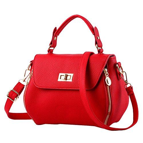 Bolso Mujer Retro Color De Crossbody Rojo Estilo Puro Sencillo Blanco Totalizador r6qwZ8rx