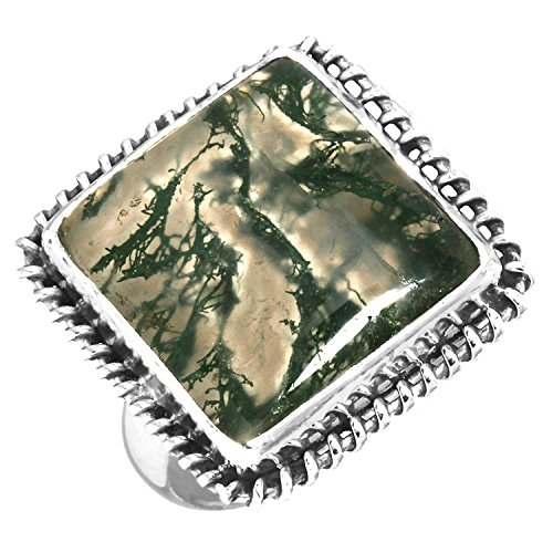 Solid 925 Sterling Silver Ring Natural Moss Agate Gemstone Fashion Jewelry Size 5.5 (Gemstone Moss Ring Agate)