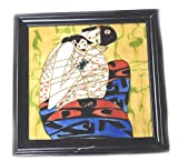 Ceramic Tile Art abstract Painting pictures ethnic salior women 14 x 14'' Handmade